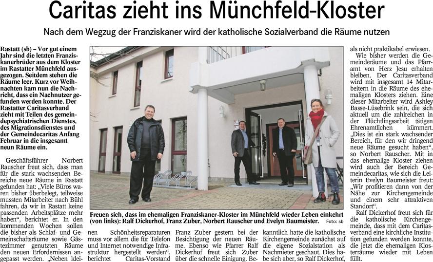 BT Caritas zieht ins Münchfeldkloster 23.12.2015